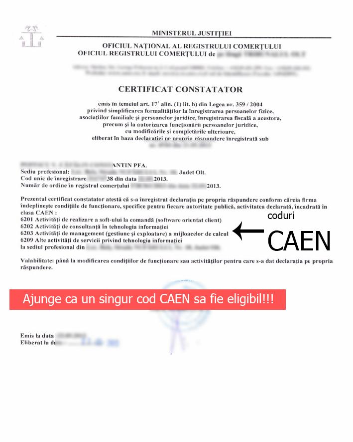 Model Certificat Constatator. Ajunge ca un singur cod CAEN din Certificatul Cosntatator să se regăsească în Anexa 1 OUG 130/2020 pentru a accesa micrograntul de 2.000 euro.